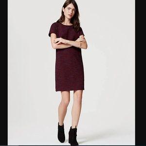 LOFT Burgundy-red Shift Dress - Size S